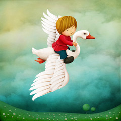 Fantasy fairy tale illustration about a tiny boy who flies on a goose