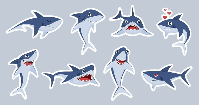 Ocean shark mascot. Happy sharks, scary jaws and underwater swimming cute character, emotions fish for stickers, patches vector set