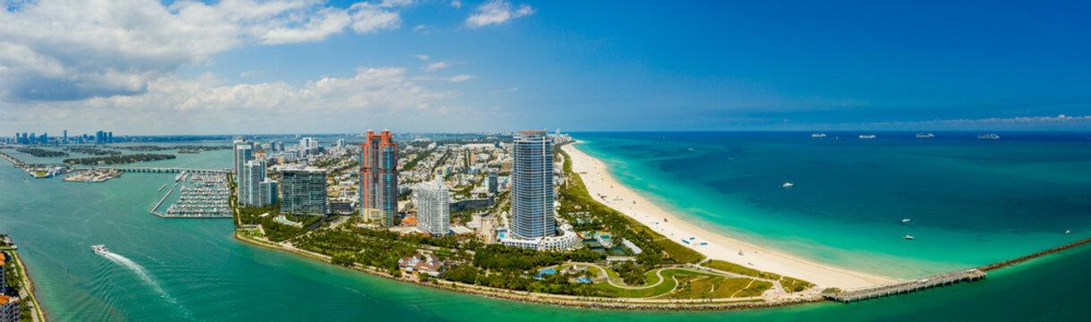 Beautiful Miami Beach scene South POinte Park Government Cut