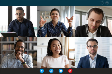 Team working by group video call share ideas brainstorming negotiating use video conference, pc...