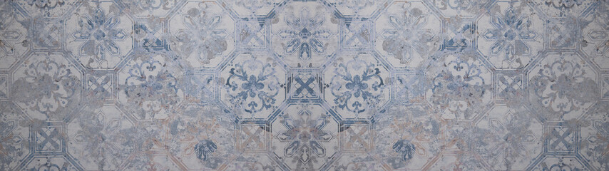 Old gray blue vintage shabby patchwork motif tiles stone concrete cement wall texture background banner