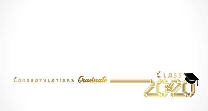Class off 2020 year congratulation graduate, golden lines design. Gold vector illustration graduation 2020 with black academic cap isolated on light background