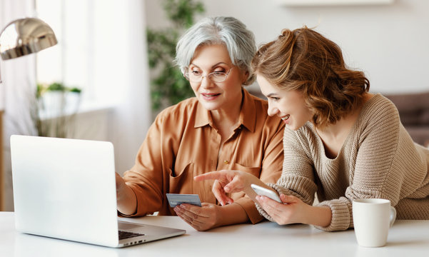 Young woman teaching senior mother to do online shopping.