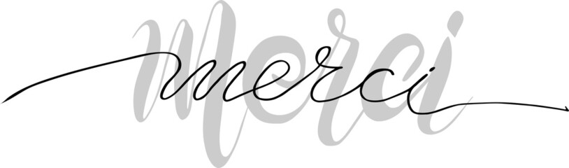 inscription in french thank you. Manual lettering. vector illustration. The effect of the lower inscription serves as a photo for the upper one. Can be used in the interior for printing on clothes and