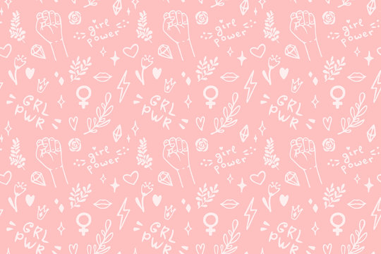 Vector seamless pattern with hand drawn elements on feminism theme: raised fist, slogans, symbol, crown, lips, hearts, branches, diamonds, sparks.