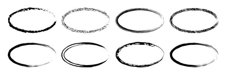 Grunge frame set, grounge border oval collecton – stock vector