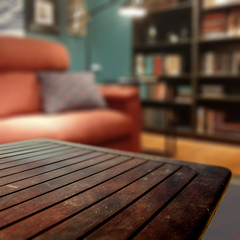 Wall Mural - table background of free space and blurred home interior