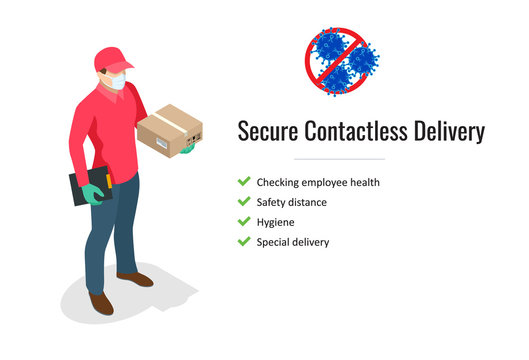 Isometric delivery man or courier in a protective medical mask holds a parcel in her hands. Free drug delivery. COVID-19. Quarantine in the city. Coronavirus epidemic.