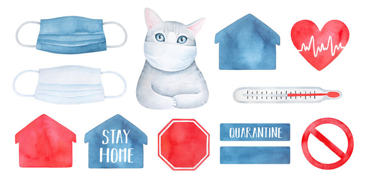 Medical illustration collection with various face protection mask, cat character, thermometer, heart shape, quarantine symbols. Hand painted watercolour drawing, cutout clipart elements for design.