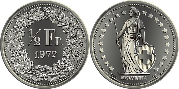 50 centimes or one half Swiss franc coin, reverse one half Fr in wreath of oak leaves and gentian, obverse Helvetia and stars, coin in Switzerland