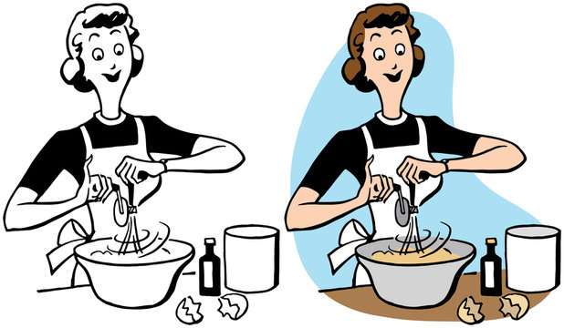 A cartoon of a woman beating eggs while baking in her kitchen.