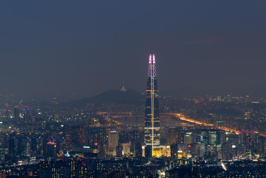 Sunset of Seoul City Skyline,South Korea.