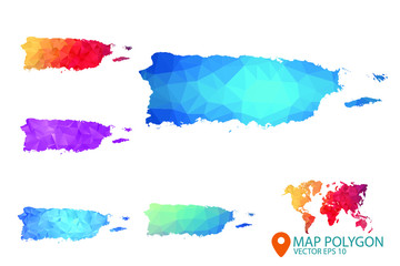 Puerto Rico Map - Set of geometric rumpled triangular low poly style gradient graphic background , Map world polygonal design for your . Vector illustration eps 10.