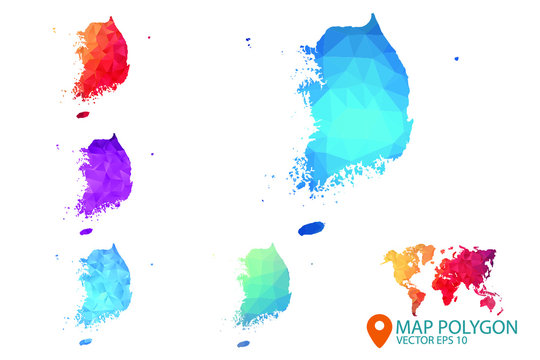 South Korea Map - Set of geometric rumpled triangular low poly style gradient graphic background , Map world polygonal design for your . Vector illustration eps 10.