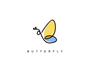 Line abstract butterfly logo beauty