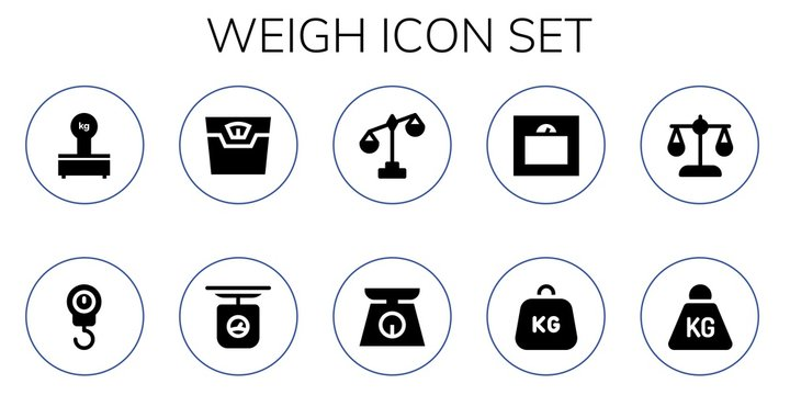 Modern Simple Set of weigh Vector filled Icons