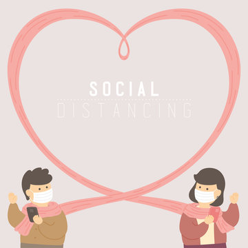 Man and woman with heart frame scarf or scarves keep distance to protection covid-19 outbreak, Social distancing concept poster or social banner design illustration on background, copy space, vector