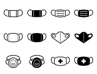 マスク、フェイスマスク、サージカルマスク、N95マスクなどのアイコンセット