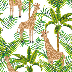 Giraffe palm trees tropical pattern white background