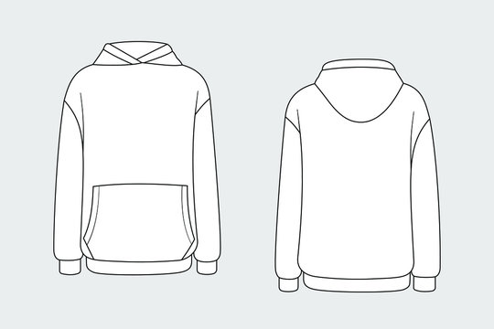 Hoodie vector template isolated on a grey background. Unisex, male, female model. Front and back view. Outline fashion technical sketch of clothes model.