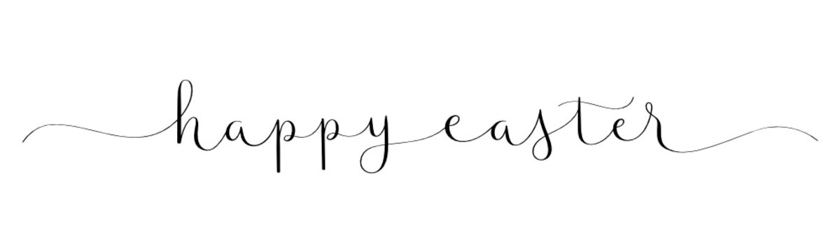 HAPPY EASTER black vector brush calligraphy banner with swashes