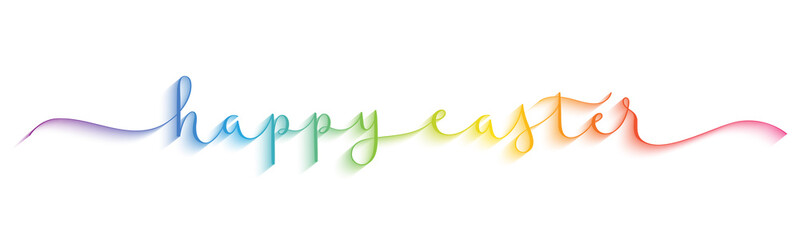 Wall Mural - HAPPY EASTER rainbow-colored vector brush calligraphy banner with swashes