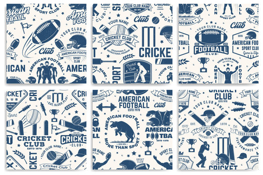 American football anb Cricket club seamless pattern, background. Vector. Seamless sport pattern with bull, sportsman player, helmet, ball and shoulder pads silhouette. Sport club texture