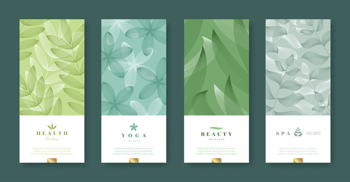 Leaves and nature banner set. Beauty and health minimal design. Voucher template with logo - health, yoga, beauty, spa. Vector illustration.