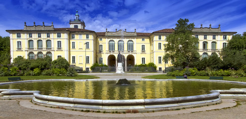 Keuken foto achterwand Milan historical building in the park with a fountain in milan city in italy
