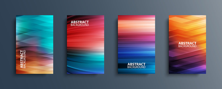 Set of abstract color backgrounds with wave or line patterns. Colorful gradient covers collection for brochures, posters, banners, flyers and cards. Vector illustration.