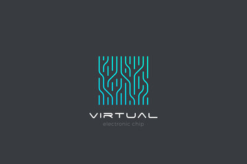 Wall Mural - Chip Digital Logo abstract Artificial Intelligence AI vector design Linear Outline style. Electronics Circuit Square shape Logotype icon.