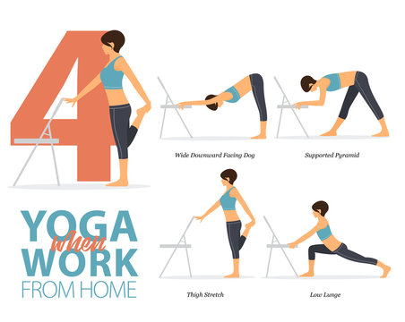 Infographic of 4 Yoga poses for office syndrome when work from home in flat design. Beauty woman is doing exercise for strength on office chair. Set of yoga postures infographic . Vector Illustration.