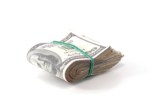 folded wad of money isolated
