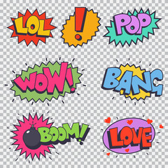 Foto op Textielframe Pop Art Comic sound effect vector cartoon set isolated on a transparent background.