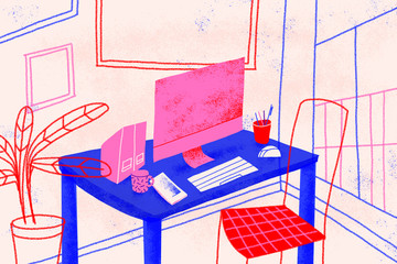 Home office. Workplace. Conceptual illustration shows a house room ready for telecommuting. Working from home concept. Colorful.