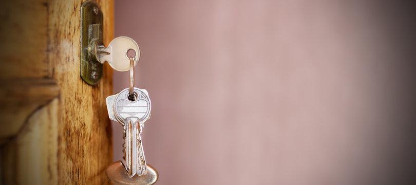 keys on vintage wooden door with space