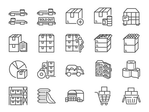 Stockpile line icon set. Included icons as boxes, container, inventory, supplies, stock up, food and more.
