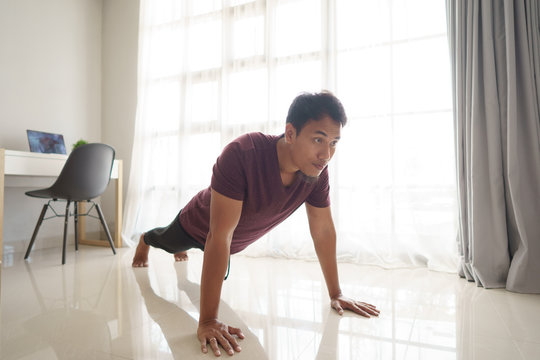 man push up from home in the morning. exercise sport