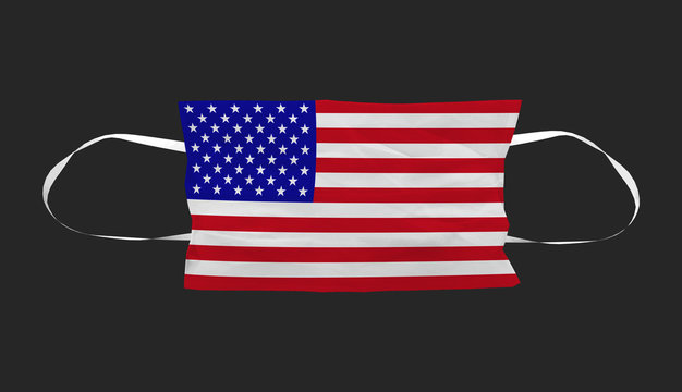 3d rendering. America flag Surgical face mask with clippin path isolated on black background.