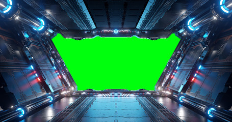 Fototapete - Blue and red futuristic spaceship interior with green window 3d rendering