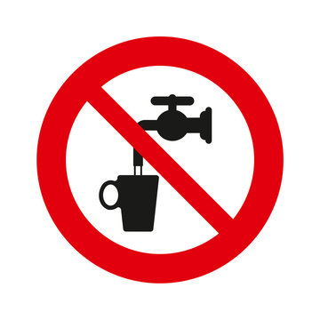 Do not drink water, vector sign, isolated over white background.
