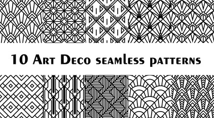 Set of 10 fish scale art deco style patterns. Retro style rhombus ornaments suitable for textile, wrapping paper, tiles and backgrounds. Wall mural
