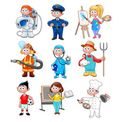 Deurstickers Kinderkamer Group of workers for children