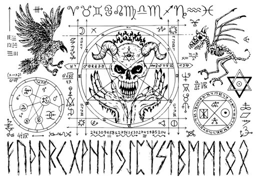 Ouija magic spiritual board design with evil face, runes and pentacle on white background.