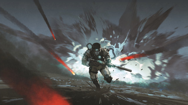 futuristic soldier running away from giant explosion, digital art style, illustration painting