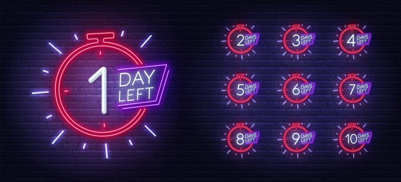 Neon sign countdown days to event on brick wall background. Number of days left.