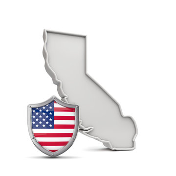 American state of California, with stars and stripes shield. 3D Rendering