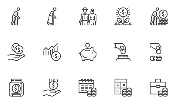 Pension Vector Line Icons. Retirement Plan, Pension Payment, Pension Fund, Benefits. Editable Stroke. 48x48 Pixel Perfect.