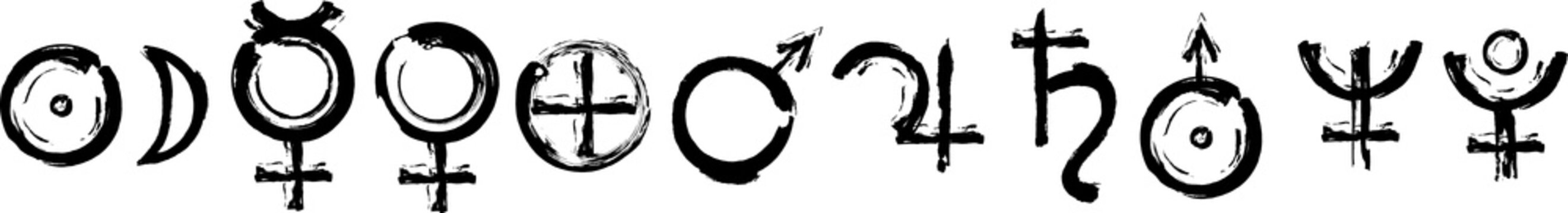 The glyphs of the planets. Set of   the Astrological symbols. Black ink handwriting. Vector