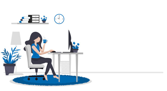 Work form home or work at home concept background of woman working with computer on table in room at her home with a cup of coffee with your copy space.